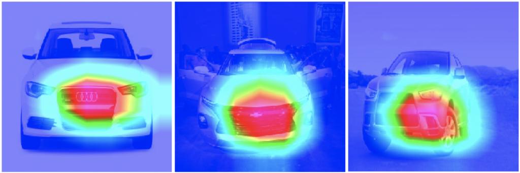 Grad-CAM für Fahrzeugaufnahmen von der Vorderseite
