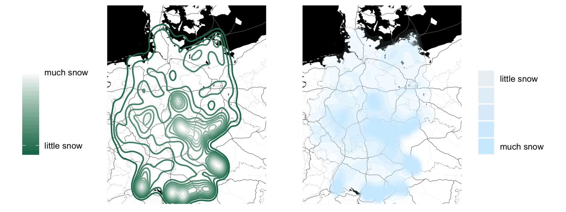 Average snow depth on Christmas Eve (2008-2017)