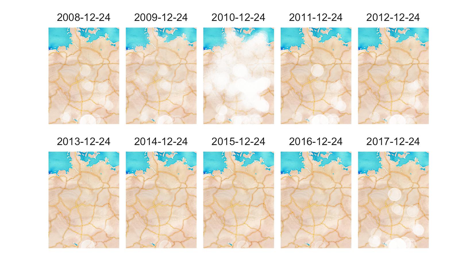 Snow depth on Christmas Eve per year (2008-2017)