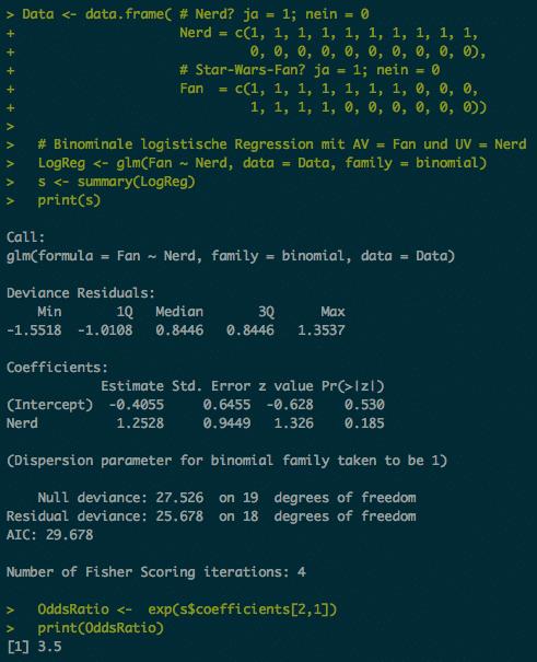 R Code und Ausgabe von glm