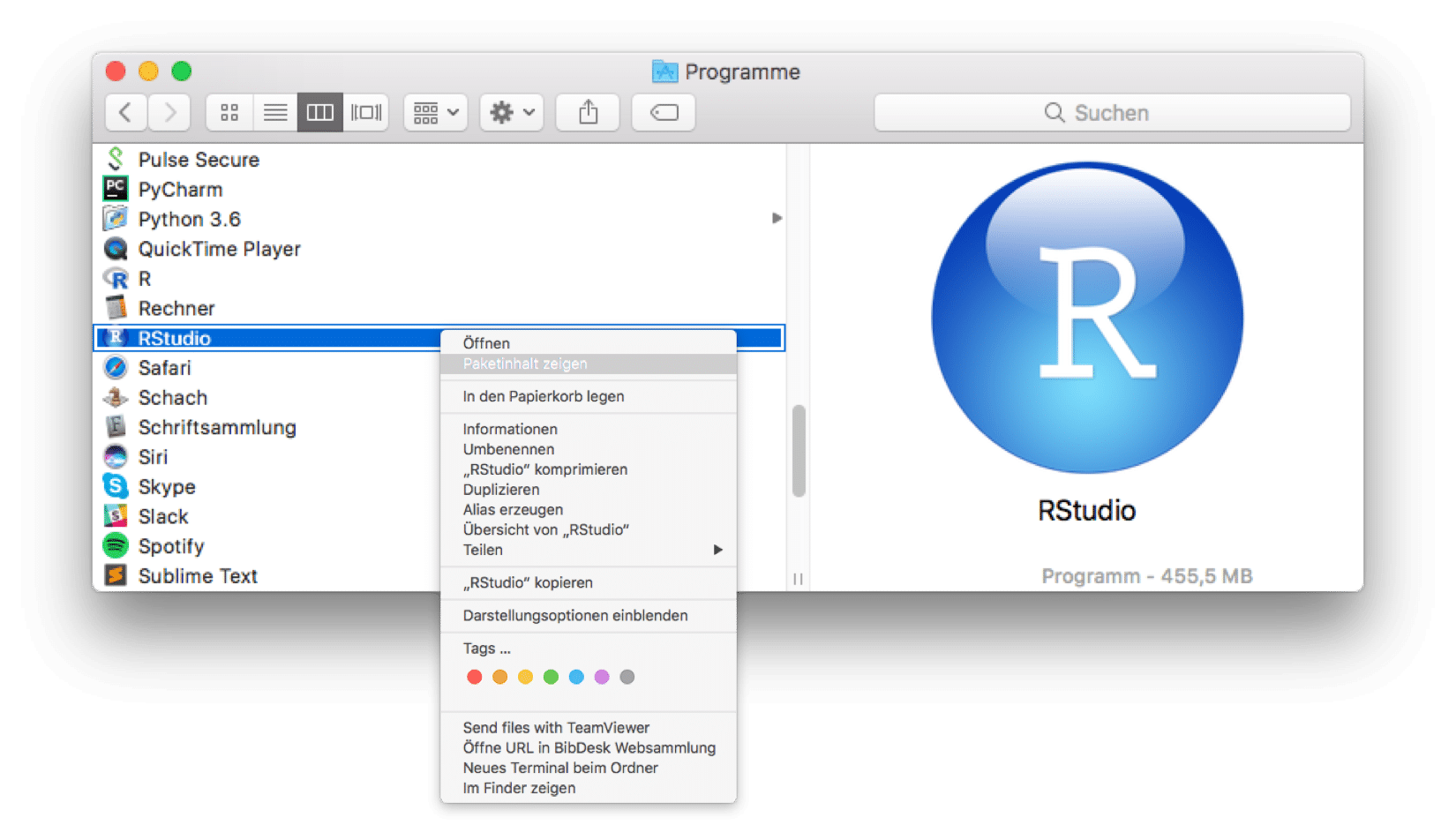 RStudio show package content