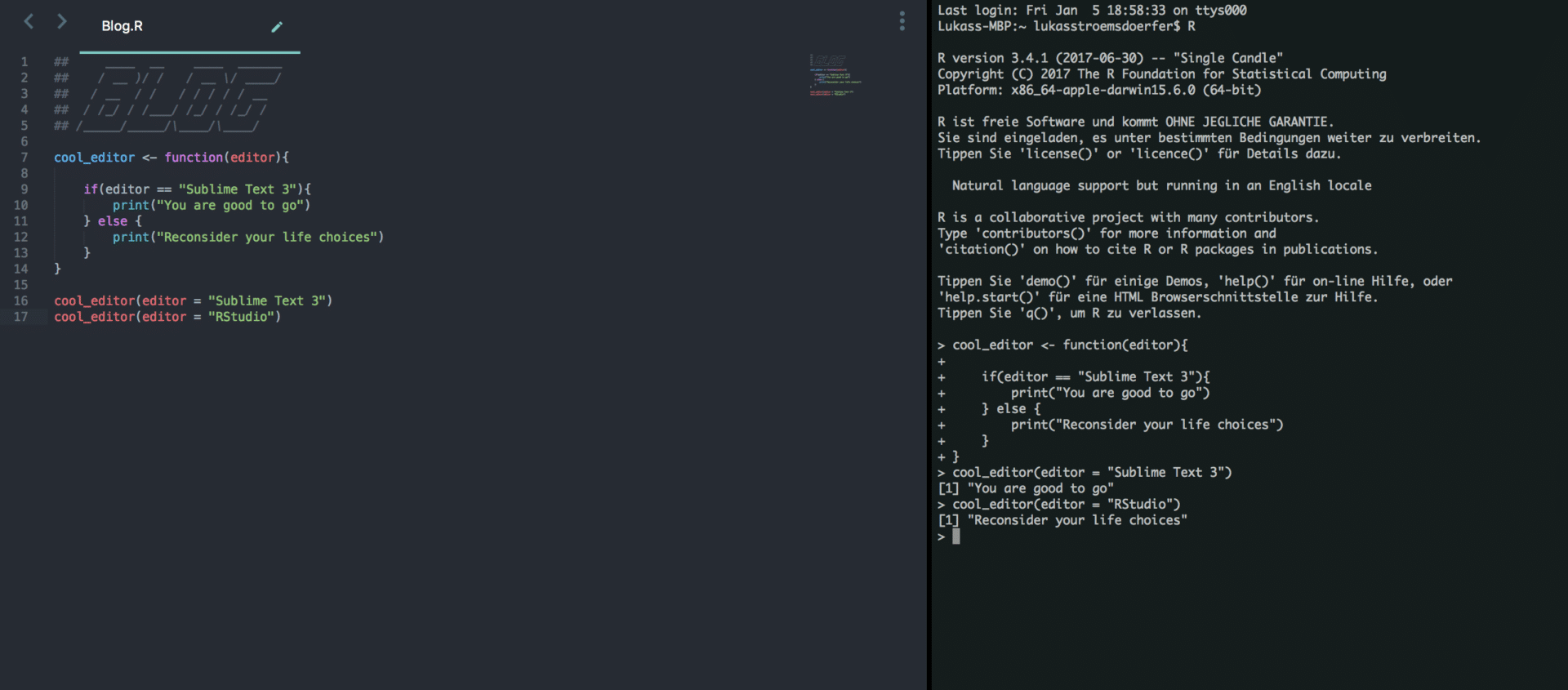sublime R Code