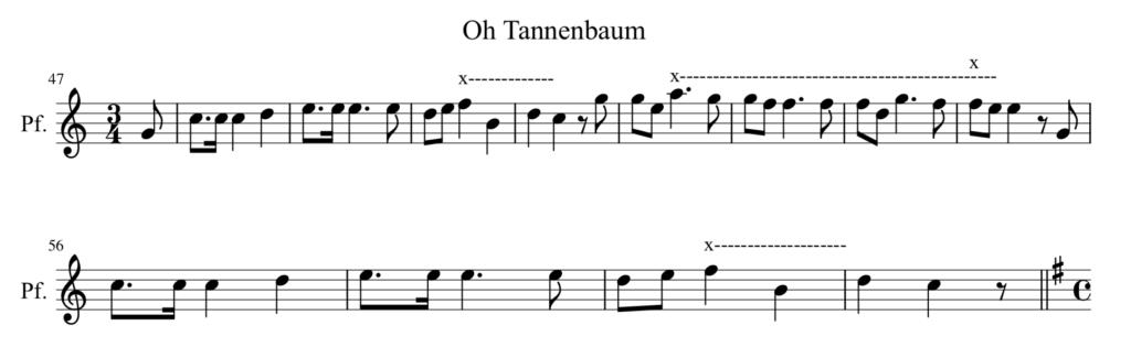 """Abb. 5: Generierte Musik """"oh Tannenbaum"""""""