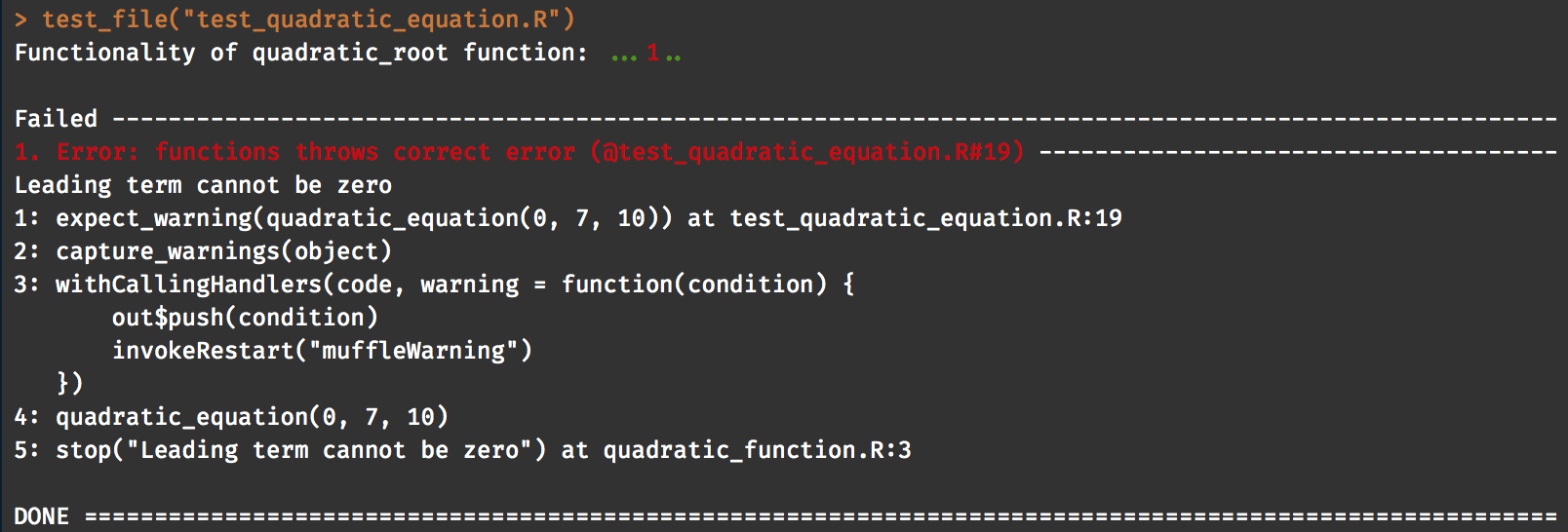 unit test output
