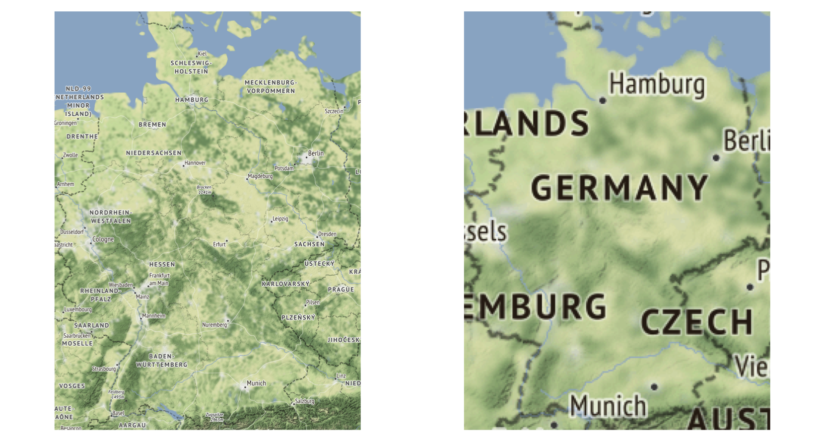 "Example for maptype = ""terrain"" with zoom = 7 (left) vs. zoom = 5 (right)."